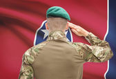 Soldier saluting to USA state flag conceptual series - Tennessee — Stock Photo