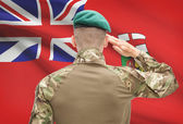 Soldier saluting to Canadial province flag conceptual series - Manitoba — Stock Photo