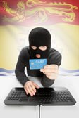 Hacker with credit card in hand and Canadian province flag on background - New Brunswick — Stock Photo
