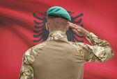 Piel oscura soldado con bandera sobre fondo - Albania — Foto de Stock
