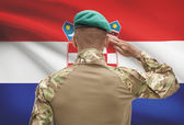 Dark-skinned soldier with flag on background - Croatia — Stock Photo