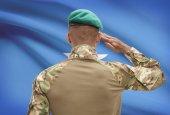 Dark-skinned soldier with flag on background - Somalia — Stock Photo