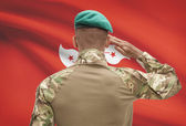Dark-skinned soldier with flag on background - Hong Kong — Stock Photo
