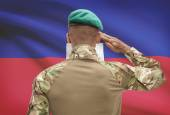 Dark-skinned soldier with flag on background - Haiti — Stock Photo