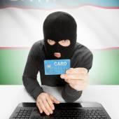 Cybercriminaliteit concept met nationale vlag - Oezbekistan — Stockfoto