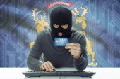 Dark-skinned hacker with USA states flag on background holding credit card - Michigan — Stock fotografie