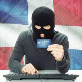Concept of cybercrime with national flag on background - Dominic — Stock Photo