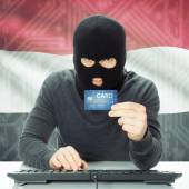 Concept of cybercrime with national flag on background - Yemen — Stock Photo
