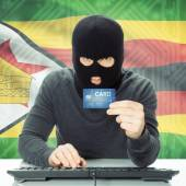 Concept of cybercrime with national flag on background - Zimbabw — Stock Photo