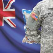 American soldier with flag series - Falkland Islands — Stock Photo
