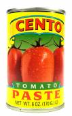 New York, NY, USA Dec 2, 2014 Closeup of a can of Cento tomato paste on a white background — Stock Photo