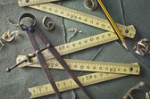 Old folding ruler — Stock Photo