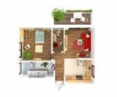 House plan top view - interior design — ストック写真