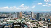 Sunny Aerial City View Panorama — Stock Photo