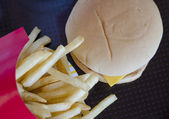 French fries with hamburger — Stock Photo