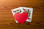 Heart and king queen card — Stock Photo