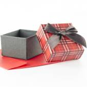 Red envoloper and scotch gift box isolated on white — Foto de Stock