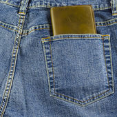 Blue jeans pocket with wallet — Stockfoto
