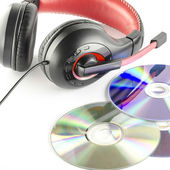 Headphone and cd — Stock Photo