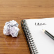 Crumpled paper and pencil with notebook — Stock Photo #54934523