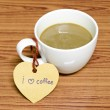 Coffee cup with heart tag write I love coffee word — Stock Photo #54936545