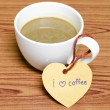 Coffee cup with heart tag write I love coffee word — Stock Photo #54936641