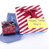Tie and two gift boxes — Stock Photo