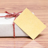 Brown gift box and card — Stock fotografie
