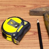 Hammer measuring tape and pencil — Stockfoto