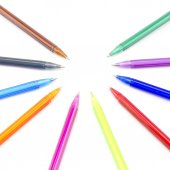 Colorful pens isolated on white — Stock Photo