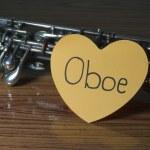 Oboe on wood background — Stock Photo #54948661