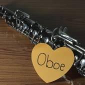Oboe on wood background — Foto de Stock