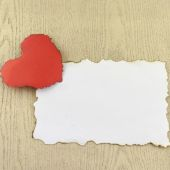 Heart and white paper — Stock Photo
