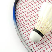 Racket badminton with shuttle cock — Stock Photo
