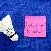Don't forget play badminton on sunday — Stock Photo
