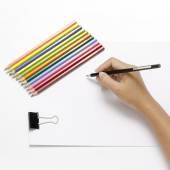 Ruční psaní na čistý papír — Stock fotografie