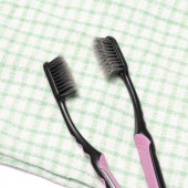 Tooth brush and towel  — Foto de Stock
