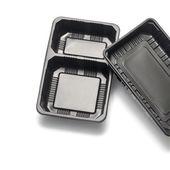 Black plastic container — Stock Photo