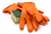 Cleaning sponge and glove — Stock Photo