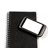 Smartphone on note book — Foto Stock