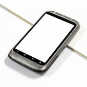 Smartphone with  note book — Stock Photo