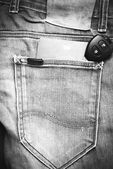 Passport in jean pocket with car key black and white tone color — Stock Photo