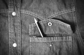 Pencil in jean pocket black and white tone color style — Stock Photo