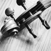 Violin on wood background black and white color tone style — Stock Photo