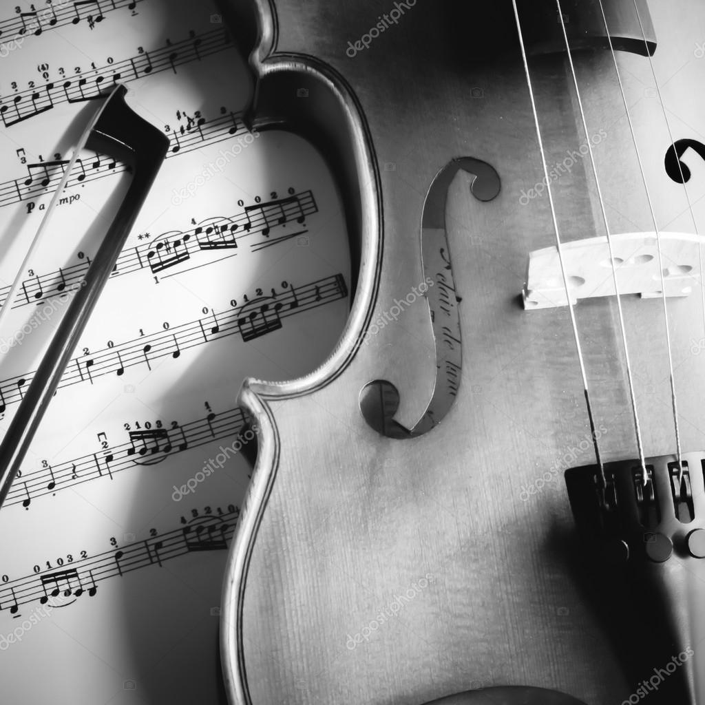 Tiempo Para Practicar Violín Blanco Y Negro Color Tono
