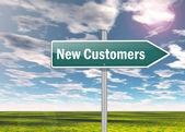 Signpost New Customers — Stock Photo