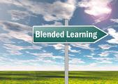 Signpost Blended Learning — Stock Photo