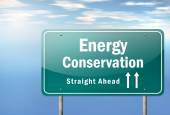 Highway Signpost Energy Conservation — Stock Photo