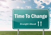 Highway Signpost Time To Change — Stockfoto