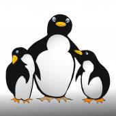 Penguin family - comic style — Stock Vector